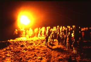 Burning Of The Clavie at Hogamany near Aberdeen, Scotland