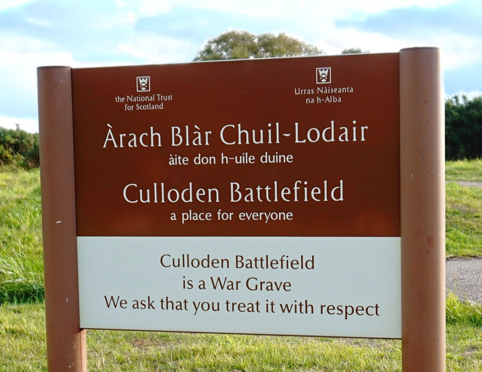 Culloden Battlefield entrance sign